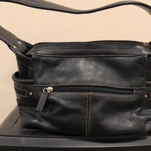 Handbags - Black purse with brown stitching